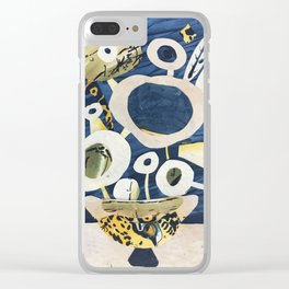 Greek Flowers Clear iPhone Case