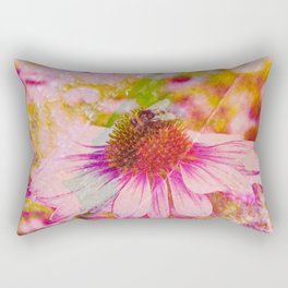 Pink Flower And The Bee Rectangular Pillow