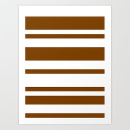 Mixed Horizontal Stripes - White and Chocolate Brown Art Print