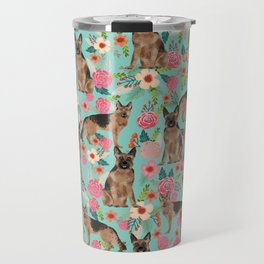 German Shepherd florals gifts for the dog lover dog breeds pet portrait dog art service dogs furbaby Travel Mug