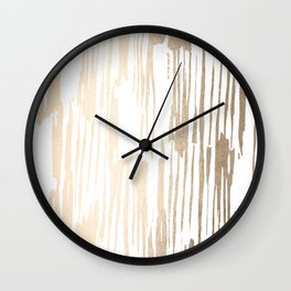 White Gold Sands Thin Bamboo Stripes Wall Clock