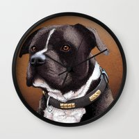bull terrier Wall Clocks featuring Staffordshire bull terrier 2 by Carl Conway