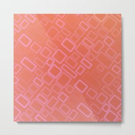 Retro pattern in shades of melon Metal Print