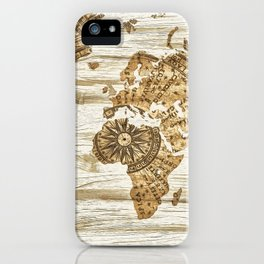 World map of wood iPhone Case
