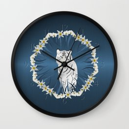 White Tiger with Orchid Grass Wreath Wall Clock