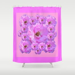 Fuchsia Purple Pink Wild Roses Pattern Art Shower Curtain