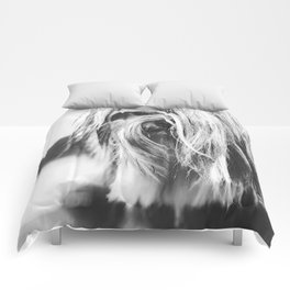 Coiffure - Yorkie - Black and White Comforters