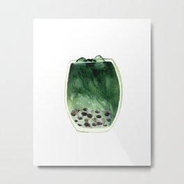 Matcha Bubble Tea Metal Print