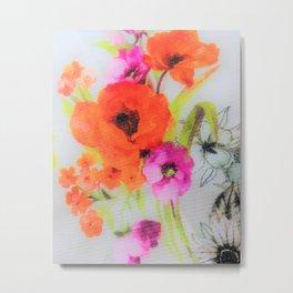 Orange,pink,black floral Metal Print