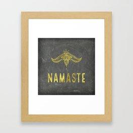 Namaste golden on chalkboard decor Framed Art Print