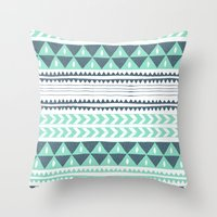stripe Throw Pillows featuring Winter Stripe by Alice Rebecca Potter