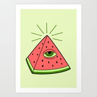 watermelon Art Prints featuring watermelon by gotoup