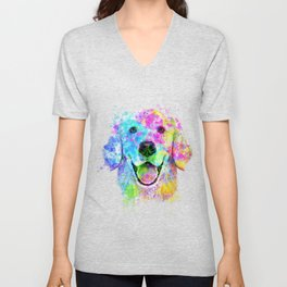 Golden Retriever Watercolor, Watercolor Dog, Golden Retriever Art Unisex V-Neck
