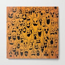 Ghost pattern halloween hand drawn spooky vector illustration Metal Print