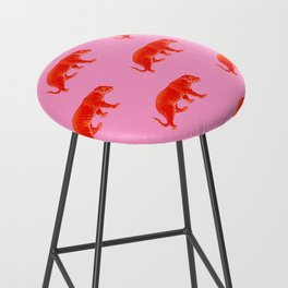 Vintage Cheetahs in Coral + Red Bar Stool