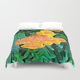 Orange Flowers of Flowing Circuitry Duvet Cover