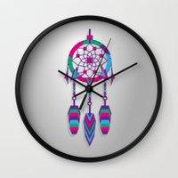 dreamcatcher Wall Clocks featuring Dreamcatcher by Angel Decuir