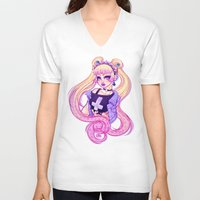 pastel goth V-neck T-shirts featuring Pastel Goth Usagi (Glasses OFF) by Gunkiss