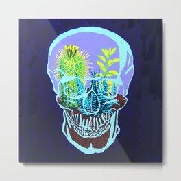 Skull Terrarium Metal Print
