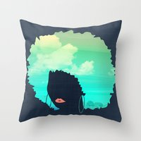 afro Throw Pillows featuring Afro by Studio Samantha