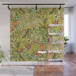 William Morris Calla Lilies, Tulips, Daffodils, & Red Poppies Textile Print Wall Mural