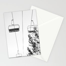 Ski Lift // Black and White Daylight Chairlift Mountain Photograph Stationery Cards
