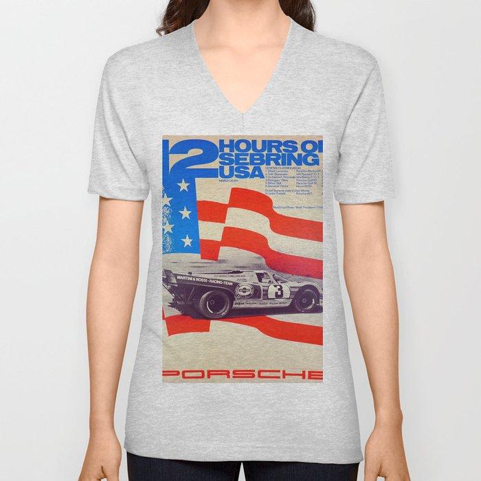 Vintage USA Racing Poster Unisex V-Neck