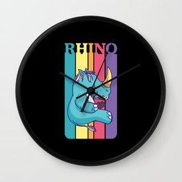 Cute Rhino Cartoon Chubby Unicorn Retro Wall Clock