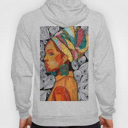 Portrait of a woman Jackie with multicolored headwrap Hoody