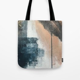 Honey 1: a pretty, minimal abstract in midnight blue, rose gold, and white Tote Bag