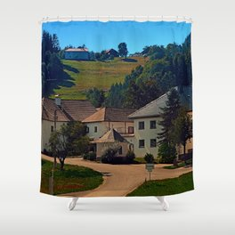 Small village in autumn scenery Shower Curtain