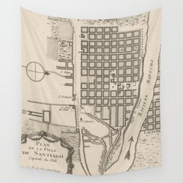Vintage Map of Santiago Chile (1764) Wall Tapestry