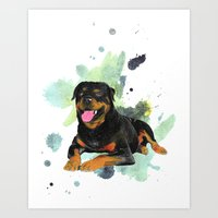 rottweiler Art Prints featuring Rottweiler happy by Cami Landia