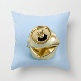 Crushed gold can blue Throw Pillow