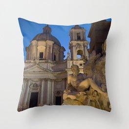 Fountain of Four Rivers - Rome Throw Pillow