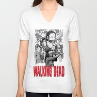 the walking dead V-neck T-shirts featuring Walking Dead by Matt Fontaine