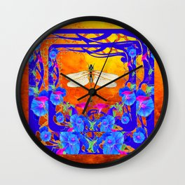 Blue Morning glories Dragonfly Golden Surreal Art Wall Clock