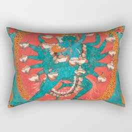 Hevajra Yidam Vajrayana Thangka Cerulean Rectangular Pillow