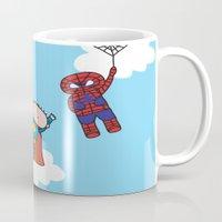 superheros Mugs featuring Superheros by oekie