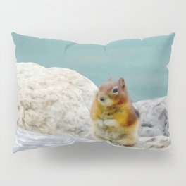 Digital Painting of a Cute Chipmunk sitting on a Rock in front of Lake Louise, Alberta Pillow Sham
