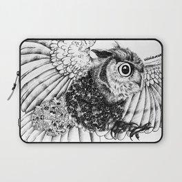 Black & White Zentangle Owl Pen Drawing Laptop Sleeve
