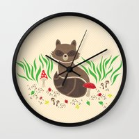 raccoon Wall Clocks featuring Raccoon by Lynette Sherrard Illustration and Design