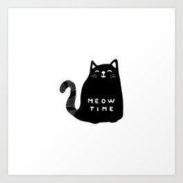 Meow time black cat Art Print