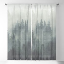 Misty pine fir forest landscape in hipster vintage retro style Sheer Curtain