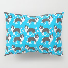 Border collie dogs pattern on blue Pillow Sham