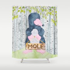The busy Mole - Woodland Friends- Watercolor Illustration Shower Curtain