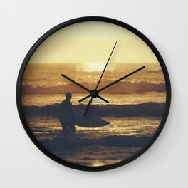 Sunset Surfer at Fistral Beach, Newquay, Cornwall Wall Clock