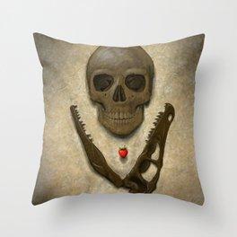 Impermanence - Velociraptor and Human Skull Throw Pillow