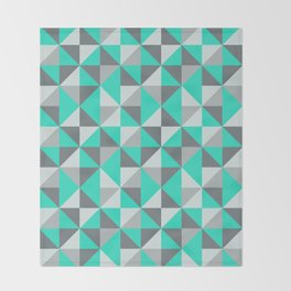 Aqua and Grey Retro Inspired Pattern Throw Blanket