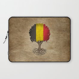 Vintage Tree of Life with Flag of Belgium Laptop Sleeve